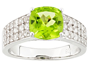 Green Peridot Sterling Silver Ring 3.41ctw