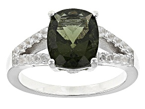 Green Moldavite Sterling Silver Ring. 2.19ctw