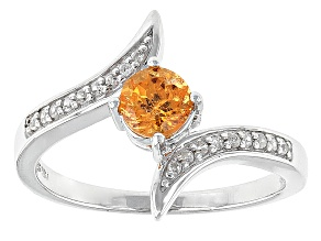 Orange Spessartite Garnet Sterling Silver Ring .60ctw