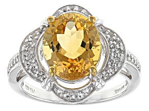Yellow Citrine Sterling Silver Ring 2.87ctw