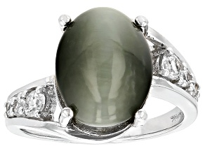 Green Cats Eye Quartz Sterling Silver Ring 5.93ctw