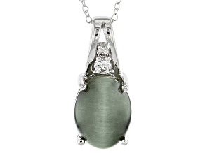 Green Cat's Eye Quartz Sterling Silver Pendant With Chain .17ctw