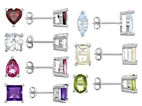 Multi Gem Sterling Silver 7 Pairs Stud Earrings Set 12.42ctw