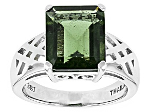 Green Moldavite Sterling Silver Solitaire Ring 4.27ctw