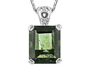 Green Moldavite Sterling Silver Solitiare Pendant With Chain 4.24ct