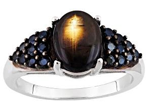 Black Star Mahaleo Sapphire Sterling Silver Ring 3.11ctw