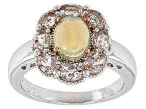 Multi Color Ethiopian Opal Sterling Silver Two Tone Ring 2.08ctw