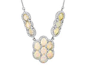 Multi Color Ethiopian Opal Sterling Silver Sliding Adjustable Necklace 5.78ctw