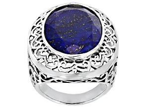 Blue Lapis Lazuli Sterling Silver Ring 20x15mm