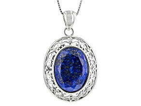 Blue Lapis Lazuli Sterling Silver Pendant With Chain 20x15mm
