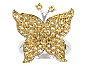Yellow Citrine Sterling Silver Butterfly Ring 1.57ctw