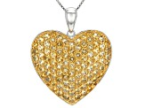 Yellow Citrine Sterling Silver Heart Pendant With Chain 5.21ctw