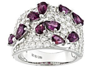 Purple Rhodolite Sterling Silver Ring 5.47ctw