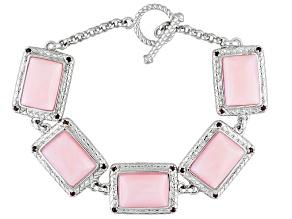 Pink Peruvian Opal Sterling Silver Bracelet .33ctw