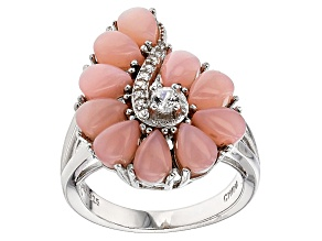 Pink Peruvian Opal Sterling Silver Ring .29ctw