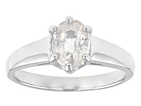 White Zircon Solitaire Sterling Silver Ring 1.70ct