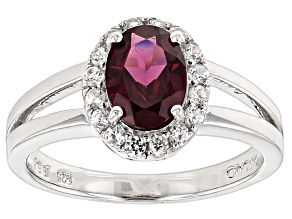 Raspberry color Rhodolite Sterling Silver Ring 1.53ctw