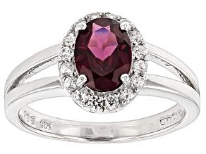 Raspberry color Rhodolite Sterling Silver Ring 1.53ctw