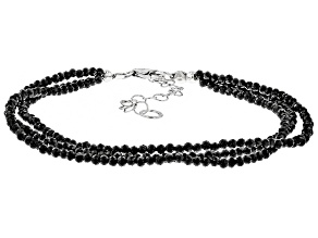 Black Spinel Bead Sterling Silver Bracelet 17.00ctw