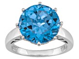 Blue Lab Created Spinel Solitaire Sterling Silver Ring 4.46ct