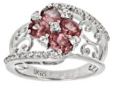 Color Shift Garnet Rhodium Over Sterling Silver Ring 1.93ctw
