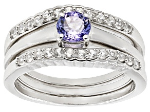 Blue Tanzanite Sterling Silver Set Of 3 Stackable Rings .90ctw