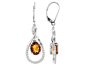Orange Madeira Citrine Sterling Silver Dangle Earrings 3.65ctw