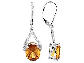 Orange Madeira Citrine Sterling Silver Dangle Earrings 5.65ctw