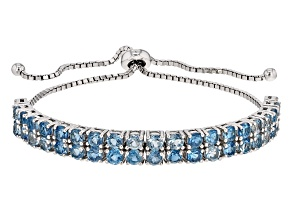 London Blue Topaz Sterling Silver Bolo Bracelet 4.34ctw