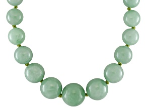 Green Jadeite 14k Yellow Gold Graduated Necklace 18 inch 6-14mm