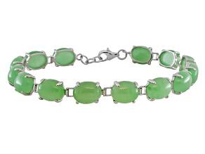 Green Jadeite Sterling Silver Bracelet