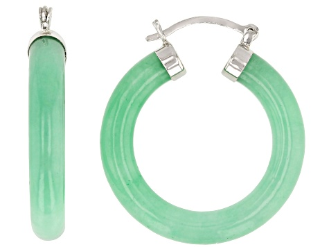 Green Jadeite Rhodium Over Rhodium Over Sterling Silver Hoop Earrings 30x4.5mm