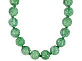 Green Jadeite 14k Yellow Gold Strand Necklace 18 inch 11-12mm