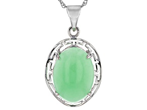 Green Jadeite Sterling Silver Pendant With Chain 18 inch