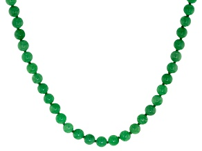 Round Green Jadeite Rhodium Over Sterling Silver Necklace 18 inch