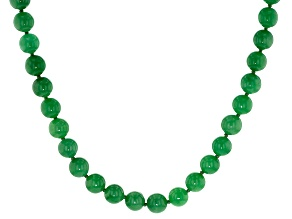 Round Green Jadeite Sterling Silver Necklace 20 inch