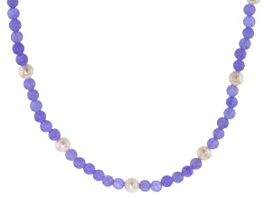 White Cultured Freshwater Pearl, Lavender Jadeite Silver Necklace