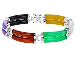 Multi-Color Jadeite Sterling Silver Bracelet
