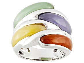 Red, Yellow, Green, Lavender Jadeite Sterling Silver Ring