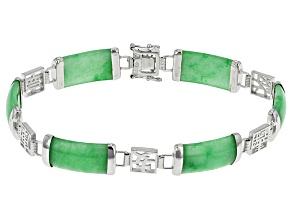 Green Jadeite Sterling Silver Line Bracelet