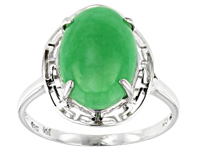 Green Jadeite Rhodium Sterling Silver Ring