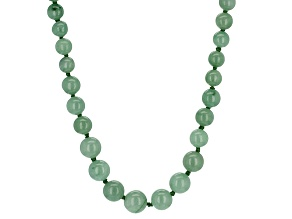 Round Green Jadeite Rhodium Over Sterling Silver Graduated Strand Necklace 20 inch
