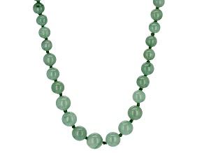 Round Green Jadeite Sterling Silver Graduated Strand Necklace 20 inch