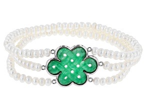 Cultured Freshwater Pearl, Jadeite, Silver Woven Knot Stretch Bracelet