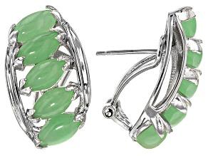 Green Jadeite Sterling Silver Omega Earring