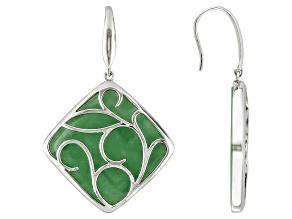 Green Jadeite Sterling Silver Dangle Earring