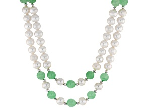 Green Jadeite, White Cultured Freshwater Pearl Silver Necklace