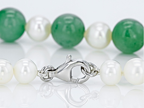 Jadeite, White Cultured Freshwater Pearl Rhodium Over Sterling Silver Strand Necklace 24 inch