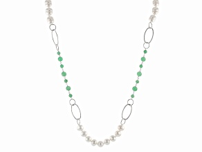 Jadeite, White Cultured Freshwater Pearl Silver Station Necklace 40 inch