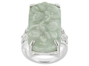 Green Jadeite Carved Butterfly Sterling Silver Ring. .04ctw